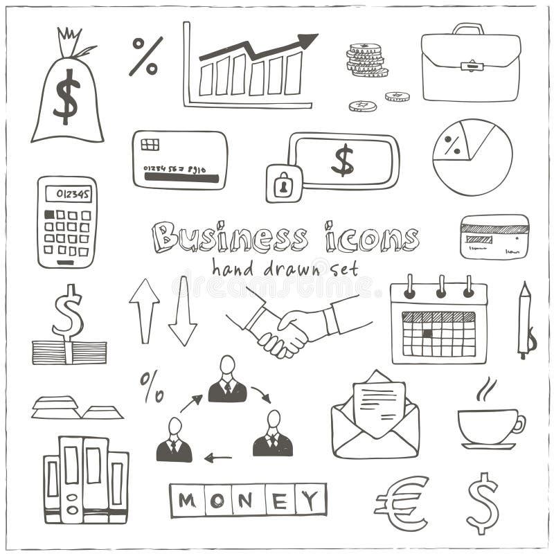 Reeks van de bedrijfs krabbelschets pictogrammen royalty-vrije illustratie
