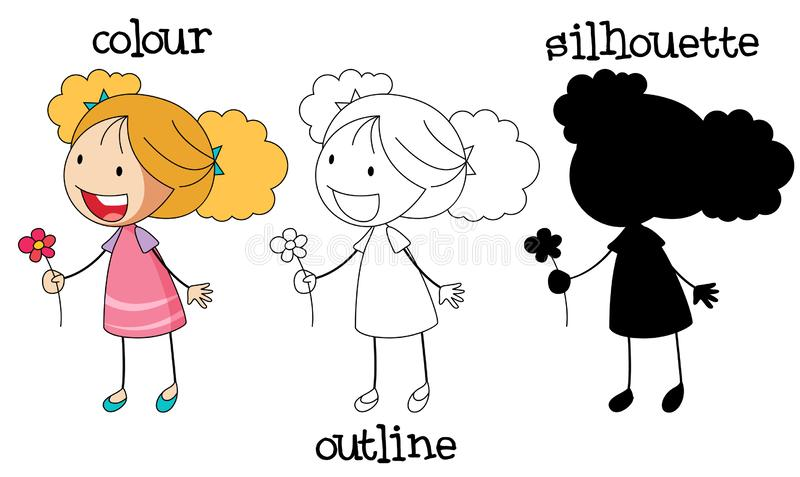 Reeks van de bloem van de meisjesholding royalty-vrije illustratie