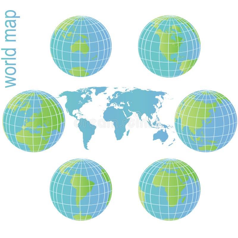 Reeks van de bollen van de Aarde en wereldkaart royalty-vrije illustratie