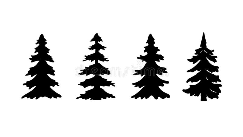 Reeks van de boom of de Kerstboom van de silhouetpijnboom Vector illustratie royalty-vrije illustratie
