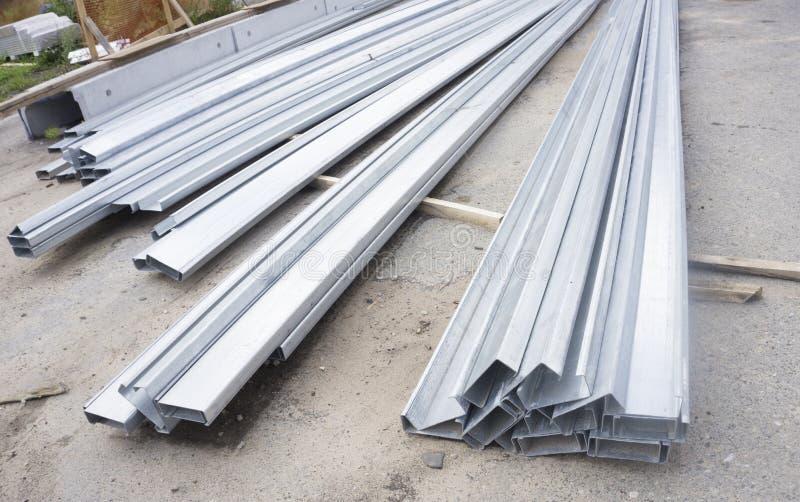 Reeks van de bouw van profielen, staalprofielen voor reparatie, bouwwerkzaamheden stock fotografie