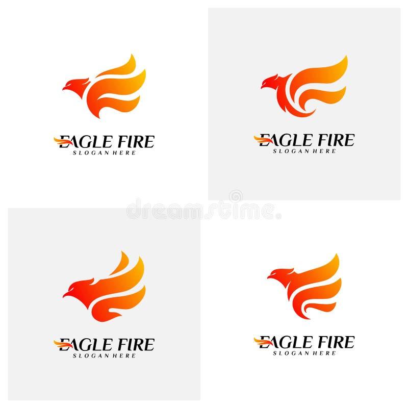Reeks van de Brandvogel Logo Design Concepts van Phoenix Duif Eagle Logo Template Vector Pictogramsymbool vector illustratie