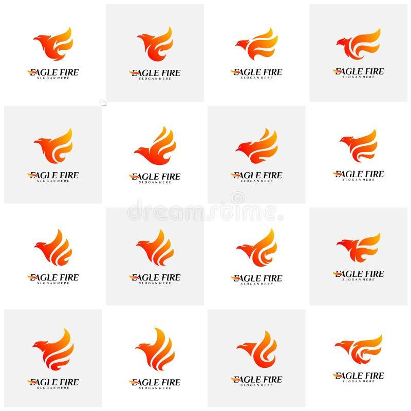 Reeks van de Brandvogel Logo Design Concepts van Phoenix Duif Eagle Logo Template Vector Pictogramsymbool stock illustratie