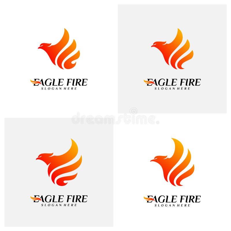 Reeks van de Brandvogel Logo Design Concepts van Phoenix Duif Eagle Logo Template Vector Pictogramsymbool royalty-vrije illustratie