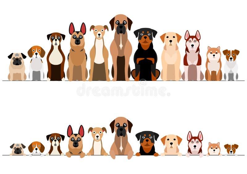 Reeks van de bruinachtige reeks van de hondengrens stock illustratie