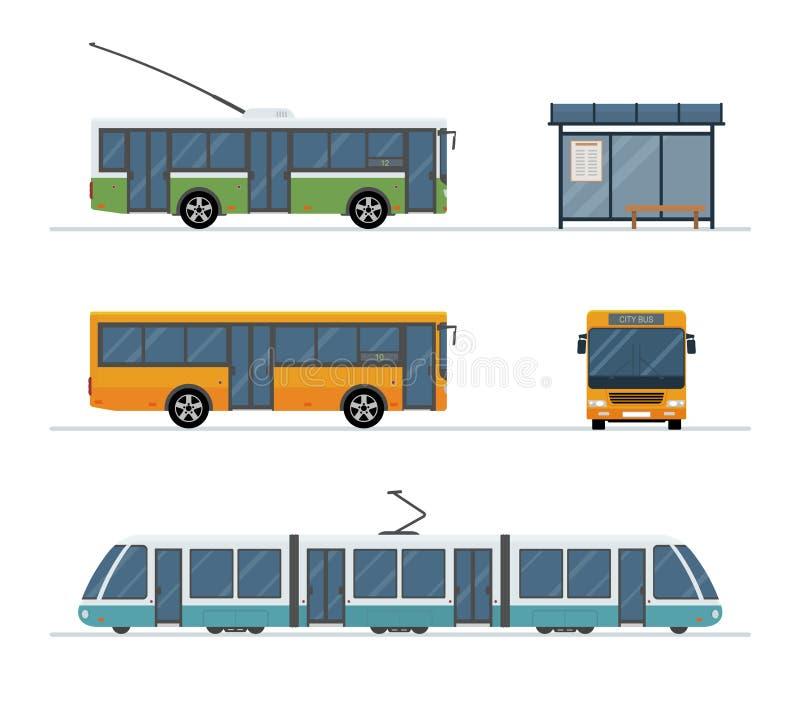 Reeks van de bus van het stadskarretje, bus, tram en bushalte op witte achtergrond wordt geïsoleerd die stock illustratie