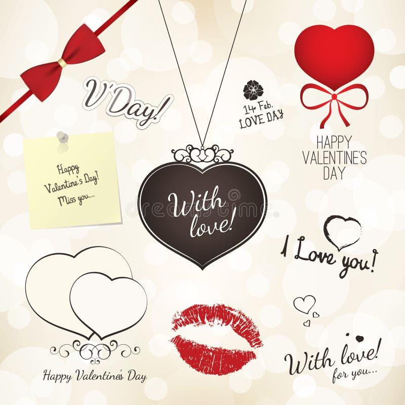 Reeks Van De Dag Van Valentijnskaarten Stock Afbeelding