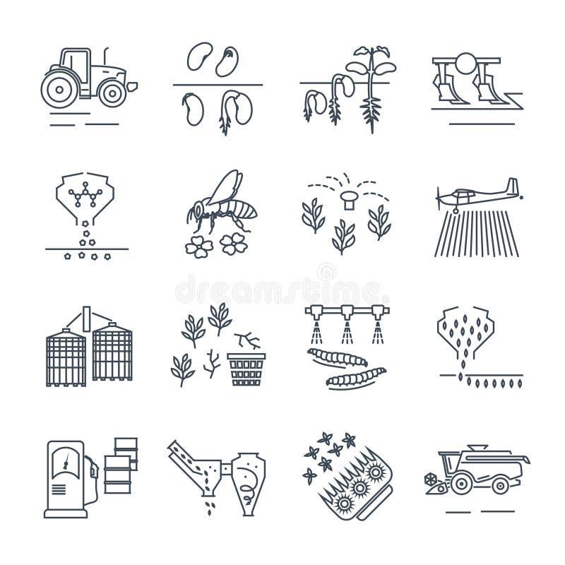 Reeks van de dunne landbouw van lijnpictogrammen, de landbouw royalty-vrije illustratie