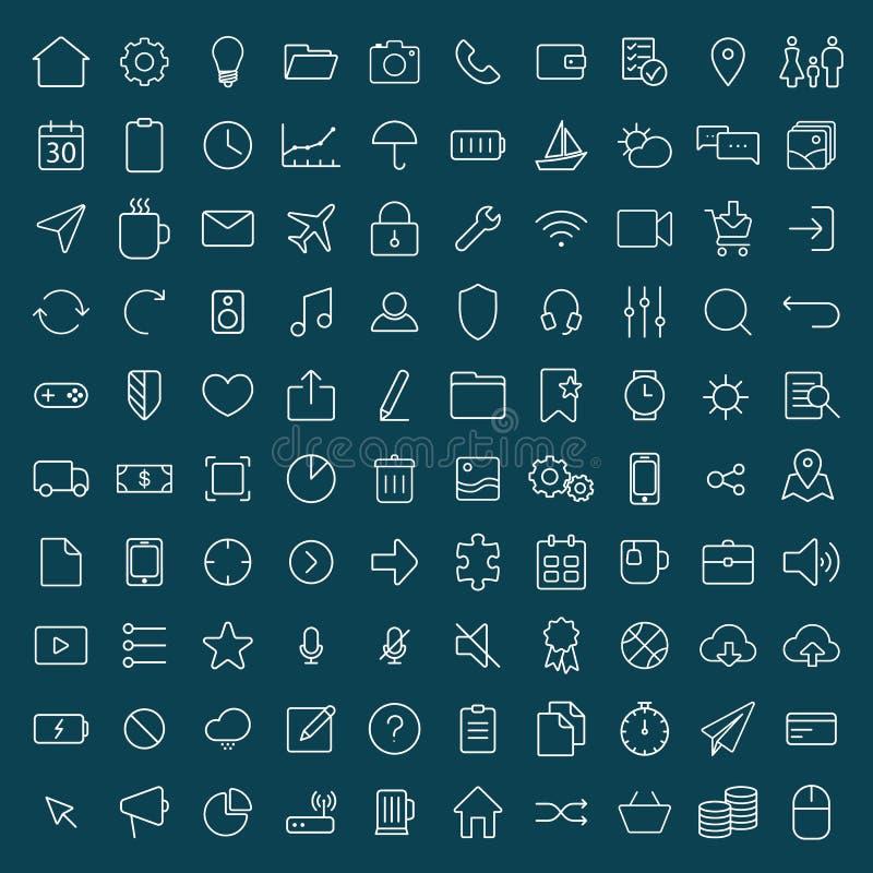reeks van 100 de dunne lijn universele pictogrammen van financiën, marketing, shoppi royalty-vrije illustratie