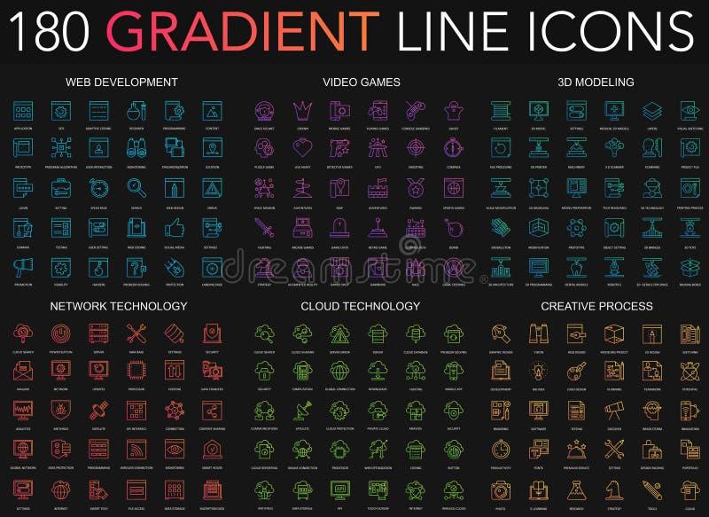 reeks van 180 de dunne de lijnpictogrammen van de in gradiëntstijl van Webontwikkeling, videospelletjes, 3d modellering, netwerkt stock illustratie