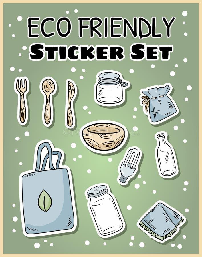 Reeks van de Eco de vriendschappelijke sticker Ecologische en nul-afval inzameling van etiketten Ga het groene leven royalty-vrije illustratie