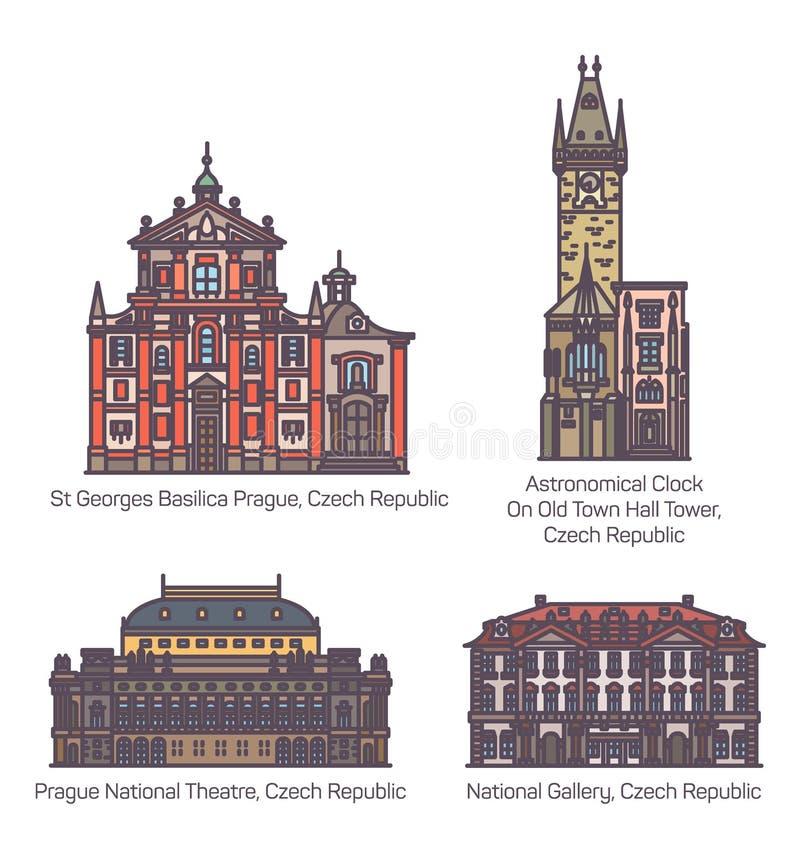 Reeks van de geïsoleerde het oriëntatiepuntbouw van de Tsjechische republiek vector illustratie