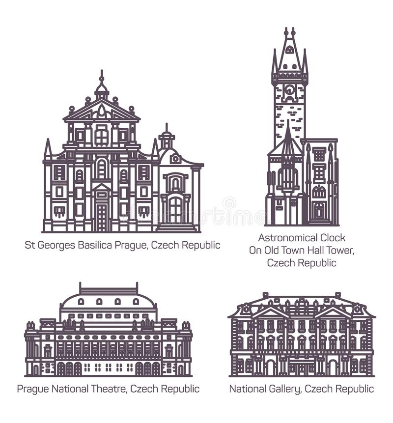 Reeks van de geïsoleerde het oriëntatiepuntbouw van de Tsjechische republiek royalty-vrije illustratie