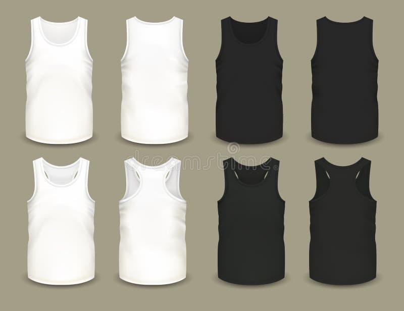 Reeks van de geïsoleerde overhemden van de mensensport of hoogste kleding vector illustratie