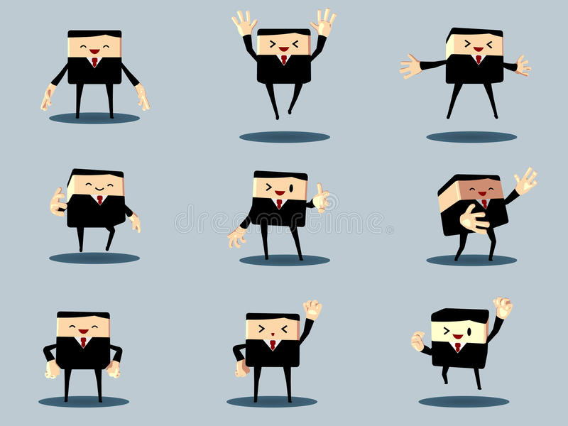 Reeks van de gelukkige bureau en bedrijfsmens stock afbeelding