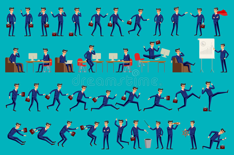 Reeks van de Gelukkige bureaumens Vector illustratie De reeks zakenmankarakters stelt, het vectorformaat van eps10 stock illustratie