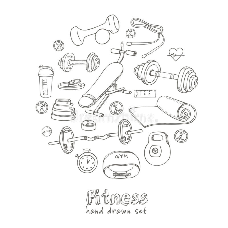 Reeks van de Geschiktheids bodybuilding dieet en gezondheidszorg schetspictogrammen stock illustratie