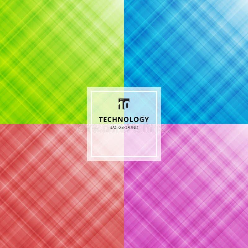 Reeks van de gestreepte abstracte blauwe, groene, rode, purpere achtergrond van de kleurentechnologie Digitaal fractal patroon Va royalty-vrije illustratie