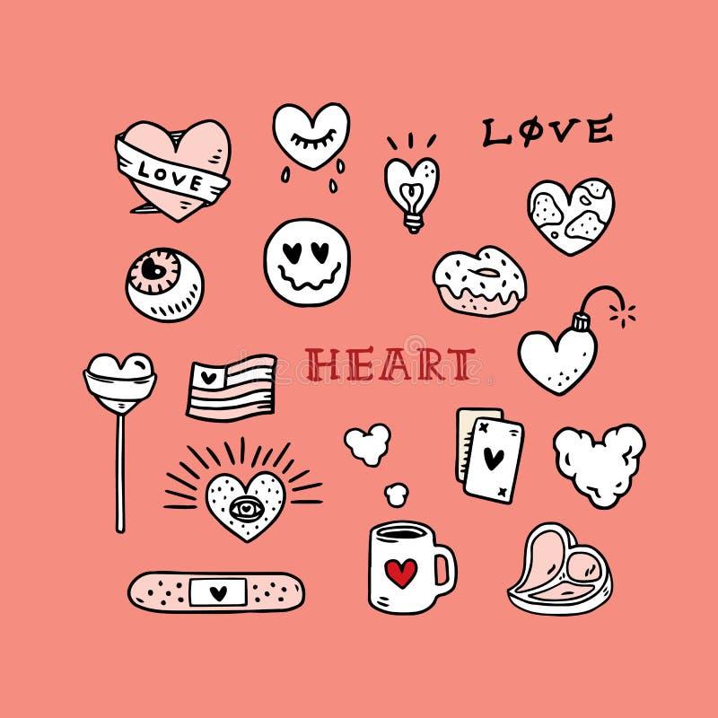 Reeks van de getrokken vectorillustratie van de Liefdetatoegering hand met smiley, suikergoed, kop, Doughnut, licht, bom, vlag, o royalty-vrije illustratie