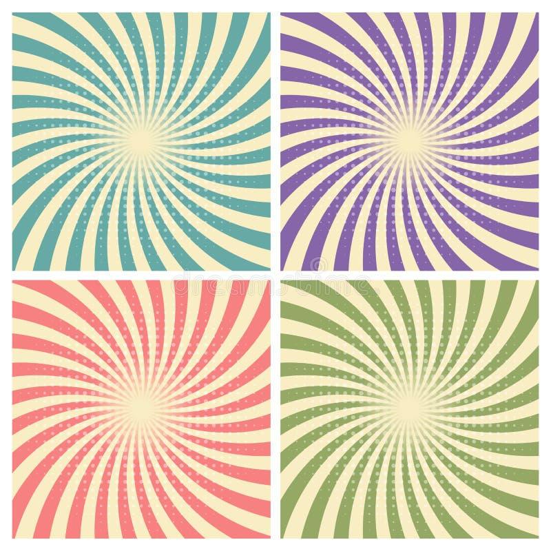 Reeks van de gevolgen retro groene, blauwe, purpere, rode kleur van de circus grafische straal en lichtbruin met halftone voor gr vector illustratie