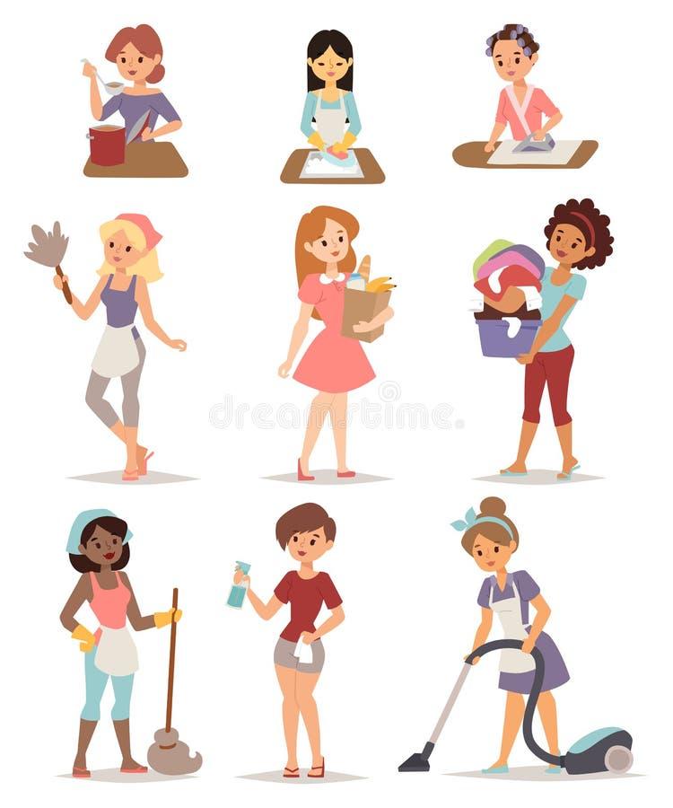 Reeks van de gezinshulp van het huisvrouwenpictogram het schoonmaken het strijken kokwas en het winkelen vectorillustratie stock illustratie