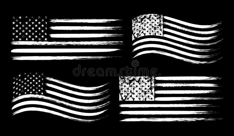 Reeks van de grungevlag van de V.S. de Amerikaanse die, wit op zwarte achtergrond, vectorillustratie wordt geïsoleerd stock illustratie