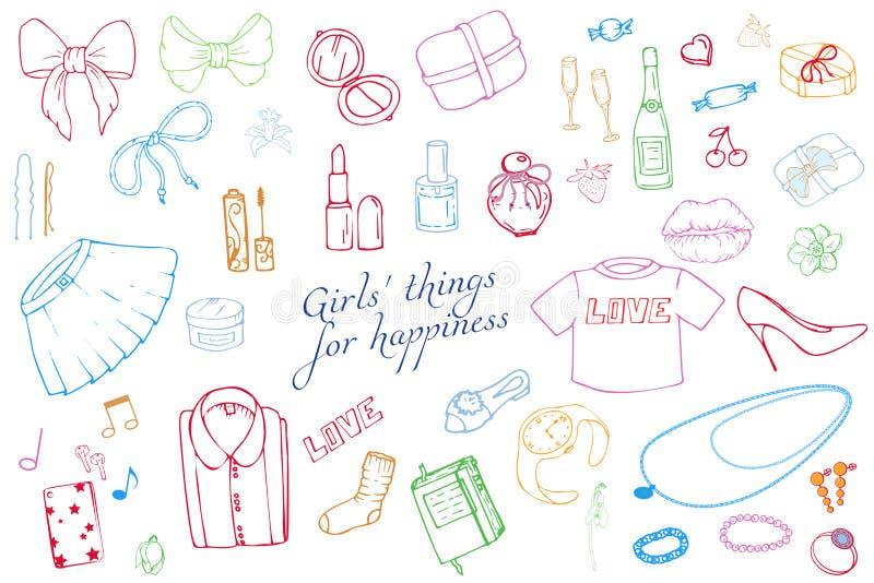 Reeks van de Hand getrokken illustratie van de Malplaatjesmanier met Meisjesmateriaal Reeks van de kleding van vrouwen, juwelen,  stock illustratie