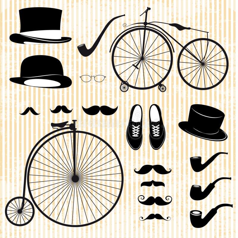 Reeks van de heer en de fiets vector illustratie