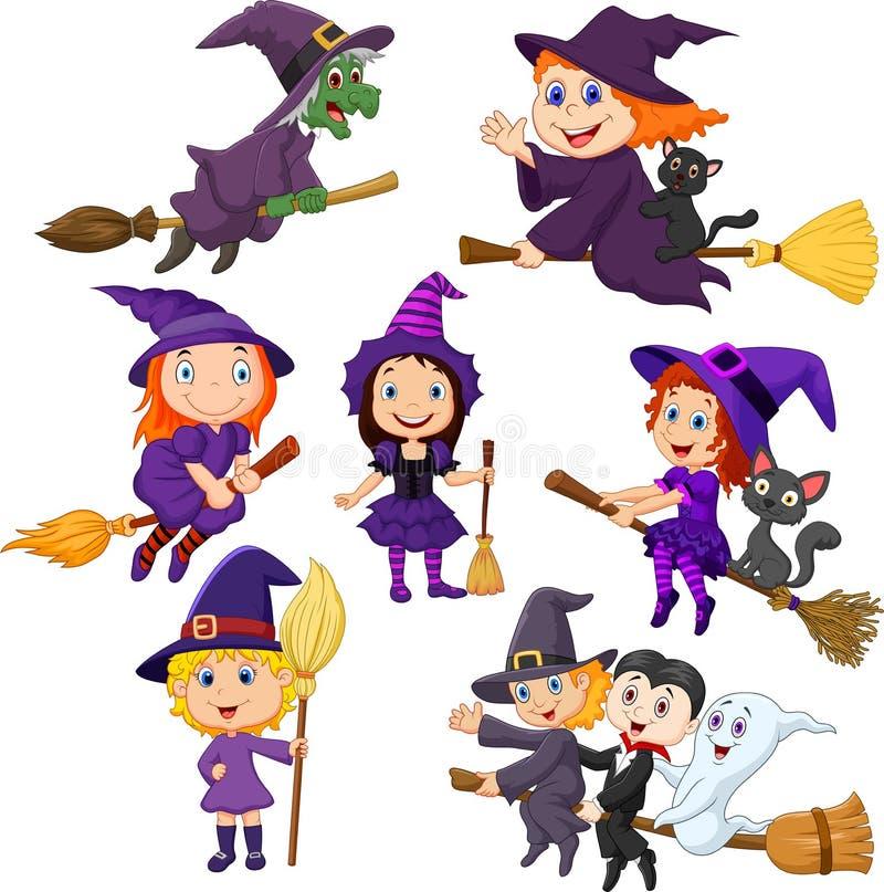Reeks van de de hekseninzameling van Halloween de jonge vector illustratie