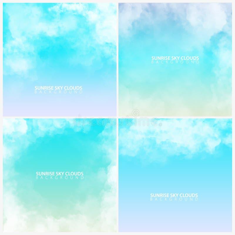 Reeks van de hemel van de Zonsopgangochtend met witte realistische wolken Vector illustratie vector illustratie