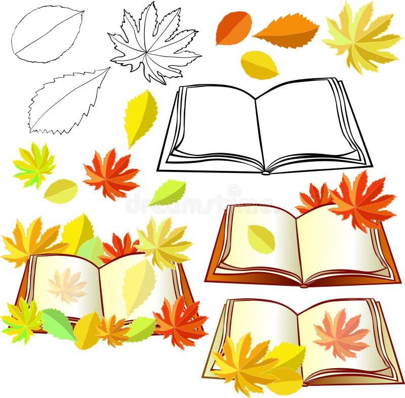 Reeks van de herfst met bladeren en onderwijsboeken royalty-vrije illustratie