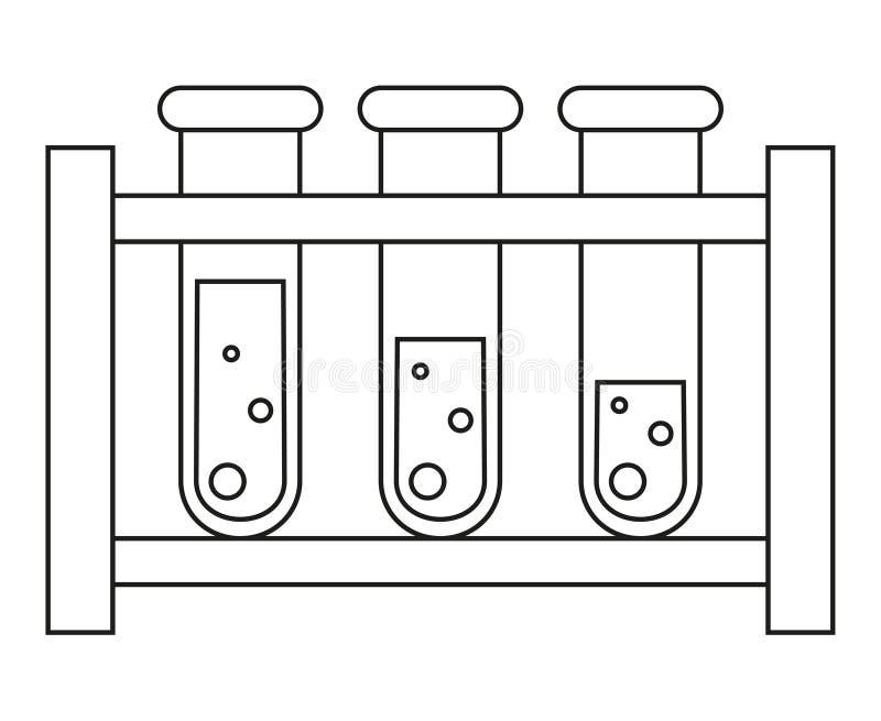 Reeks van de het bloedonderzoekbuis van de lijnkunst de zwart-witte stock illustratie