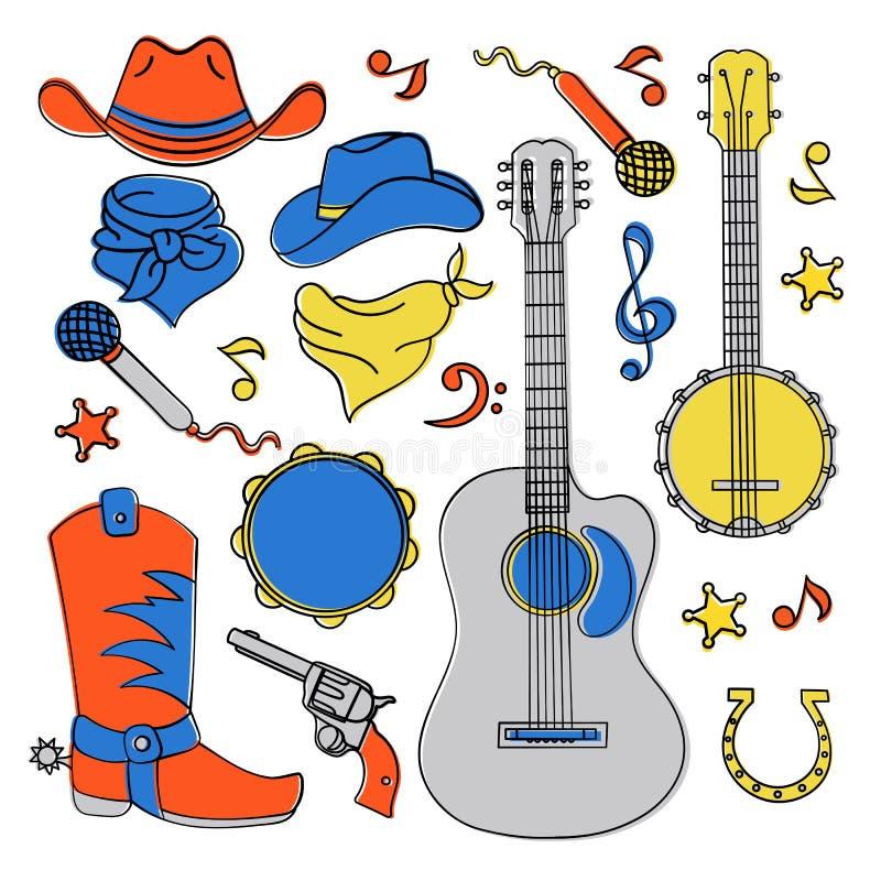 Reeks van de het Festival Vectorillustratie van de COUNTRY MUZIEKband de Westelijke stock illustratie