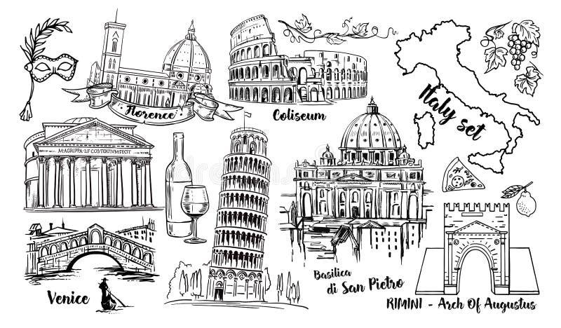 Reeks van de het Oriëntatiepunt de Vectorschets van Italië Coliseum, bruggen Venetië, toren Pisa, Vatikaan, Rimini, Boog Augustus royalty-vrije illustratie