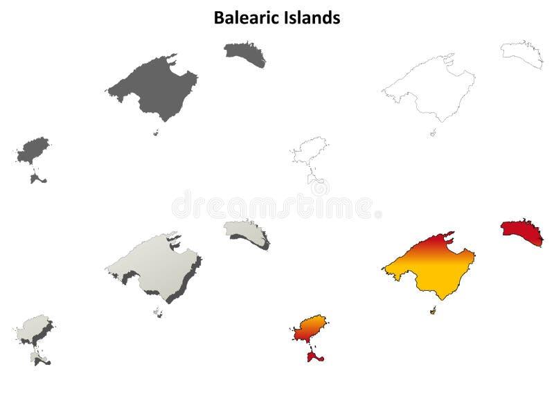 Reeks van de het overzichtskaart van de Balearen de lege stock illustratie