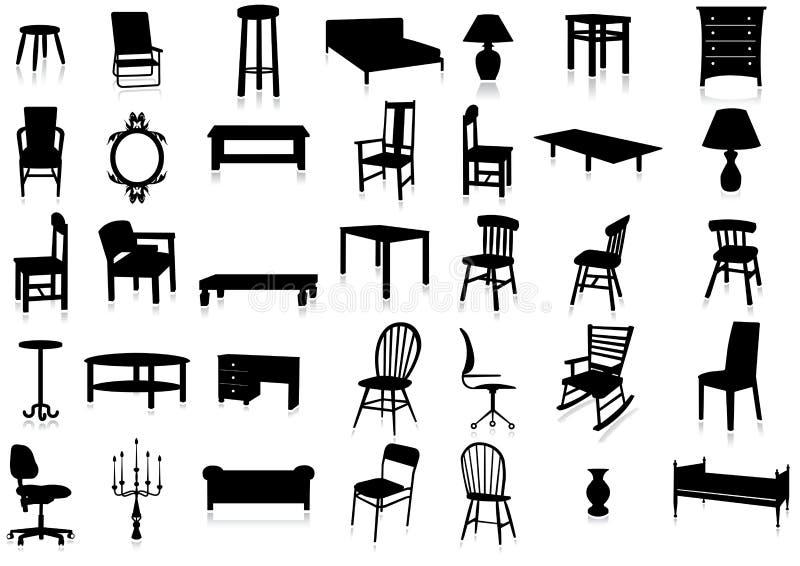 Reeks van de het silhouet de vectorillustratie van het meubilair.