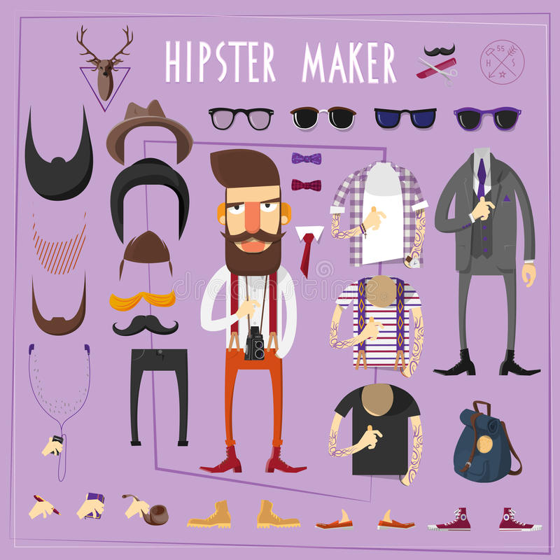 Reeks van de Hipster de hoofd creatieve aannemer royalty-vrije illustratie