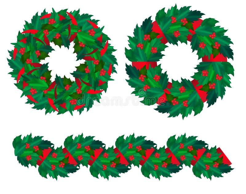 Reeks van de hulstkronen en slinger van Kerstmis. vector illustratie