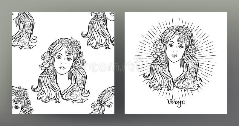 Reeks van de illustratie van het Dierenriemteken op het heilige patroon van het meetkundesymbool en naadloos patroon stock illustratie