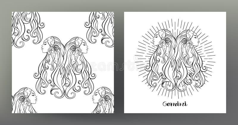 Reeks van de illustratie van het Dierenriemteken op het heilige patroon van het meetkundesymbool en naadloos patroon royalty-vrije illustratie