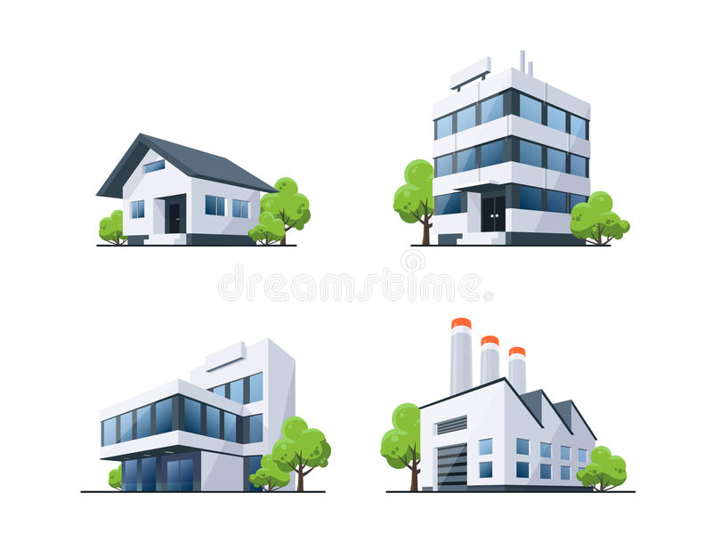 Reeks van de Illustratie van Vier Typesgebouwen met Bomen royalty-vrije illustratie