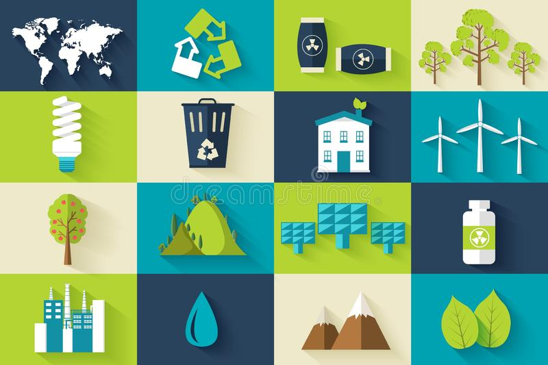 Reeks van de illustratieconcept van ecologie vlak pictogrammen Vectorecomalplaatje van element voor uw product of infographicsont stock illustratie