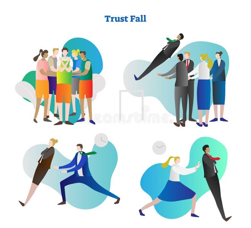 Reeks van de de illustratieinzameling van de vertrouwensdaling de vector Van de de teambouw en collega samenwerking in mensengroe royalty-vrije illustratie