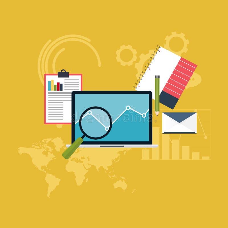 Reeks van de informatie en de ontwikkelingswebsitestatist van Webanalytics vector illustratie