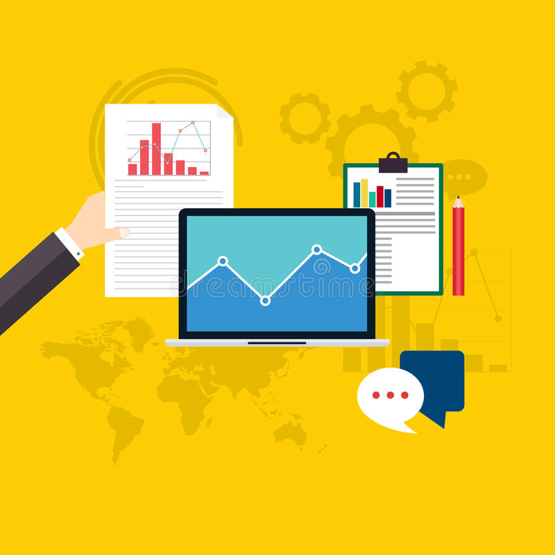 Reeks van de informatie van Webanalytics en ontwikkelingswebsite royalty-vrije illustratie