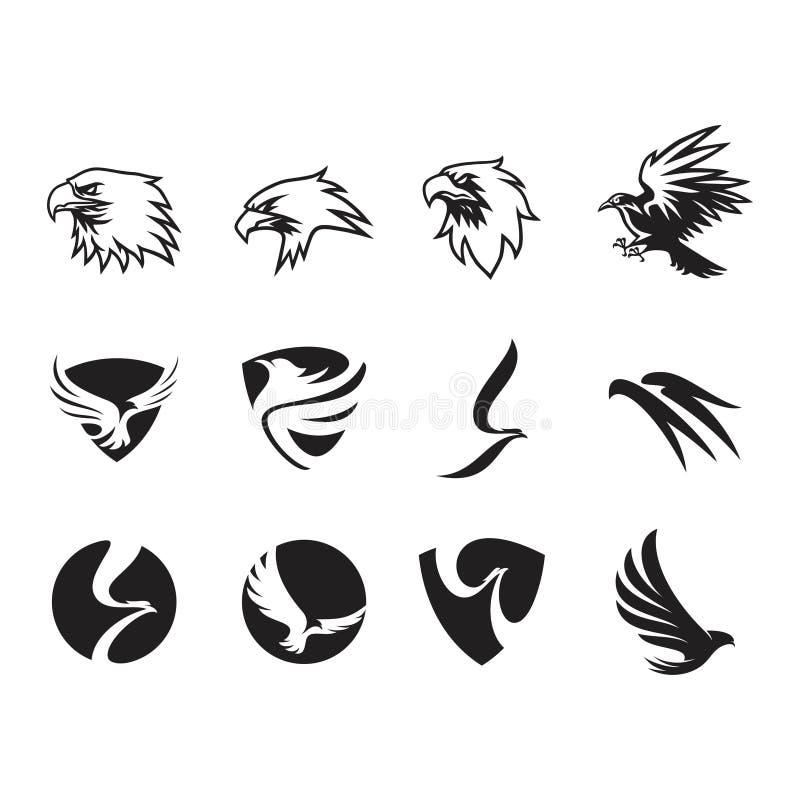 Reeks van de inzameling van het adelaarsembleem stock illustratie