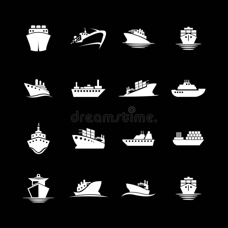 Reeks van de inzameling van het schipembleem vector illustratie