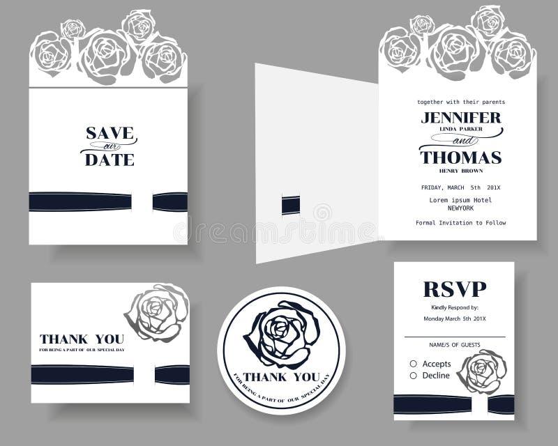 Reeks van de Kaart van de het Huwelijksuitnodiging van de Laserbesnoeiing Rose Concept vector illustratie