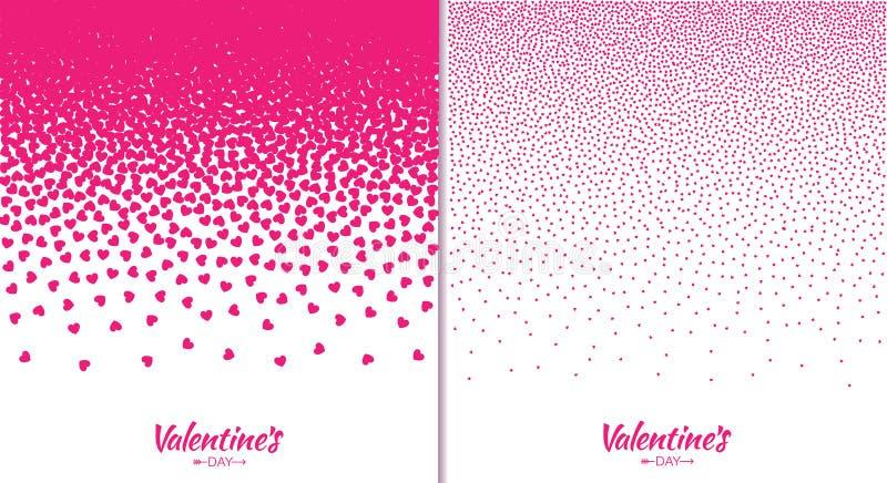 Reeks van van de de kaartgradiënt van de Valentijnskaartendag textuur van het de hartenpatroon de roze op witte achtergrond royalty-vrije illustratie