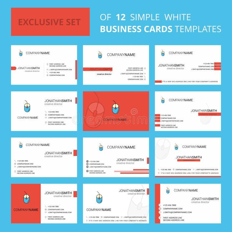 Reeks van de Kaartmalplaatje van 12 Muis Creatief Busienss Editable Creatieve embleem en Visitekaartjeachtergrond royalty-vrije illustratie